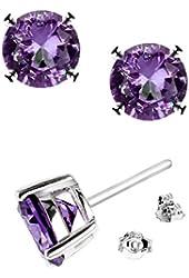 .925 Sterling Silver 6mm Round Shape Purple Cubic Zirconia Stud Earrings