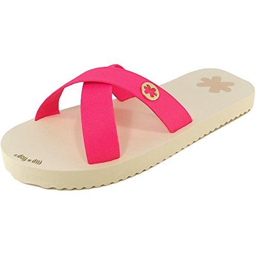 Pink Beige Infradito beige Flip pink Donna neon Slim Tex flop wznwFqvU