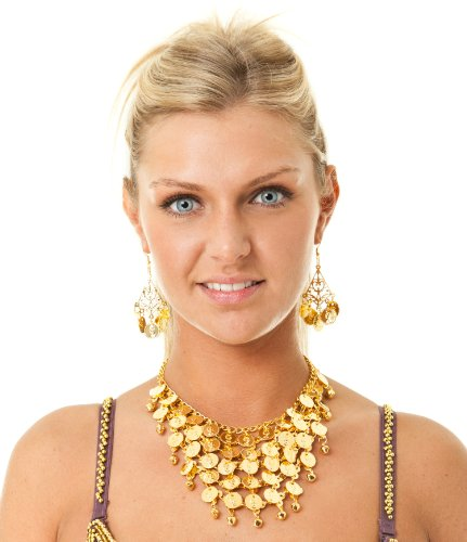 [Belly Dance Jewelry Costume Set Coin Necklace & 2 Earrings Dancing Gold Tone] (Ethnic Dance Costume)