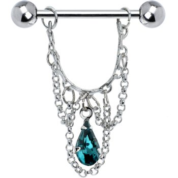 Chain Drop Nipple Ring (Body Candy Blue Green Teardrop Chain Dangle Nipple Ring Set of 2)