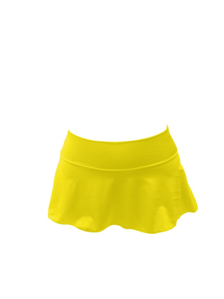 Delicate Illusions Sexy Dance Clubbing Hot Mini Soft Short Stretchy Flare Skirt for Women M (7-9) Yellow