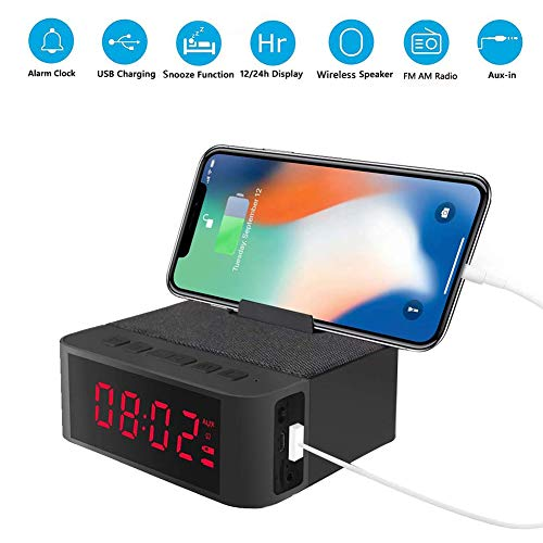 elekeyu87 USB Charging Wireless Bluetooth Speaker Bluetooth Stereo, Digital Am/Fm Radio Snooze Alarm Clock with Mobile Phone Stand Black