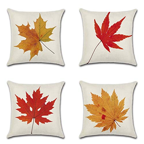- XIECCX Throw Pillow Covers Decorative Set of 4 - Linen Cotton Cover Constellation for Sofa,Bed,Chair,Auto Seat 18 x 18 inch(Fall Maple Leaf)