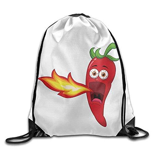 Chilli Pepper Breathing Fire Print Drawstring Backpack Rucksack Shoulder...