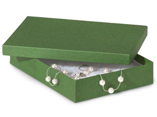 7x5x1-1/4'' Green Kraft Jewelry Box w/ Non-tarnish Cotton (Unit Pack - 100)