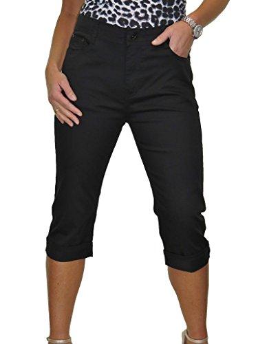 pour Noir 42 Jeans femme haute 52 Capri Brillance avec Taille zwq5FF