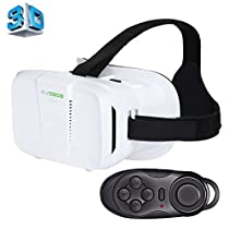 BOBO II Universal Virtual Reality 3D Video Glasses with Black Button Bluetooth Remote Controller for 4 to 6 inch Smartphones(White)