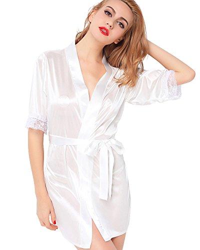 ETAOLINE Women's Sexy Sleepwear Intimate Lace Lingerie Short Kimono Robe White XL US M-XL
