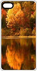 Fall Trees Reflecting In A Lake White Rubber Case for Apple iPhone 4 or iPhone 4s