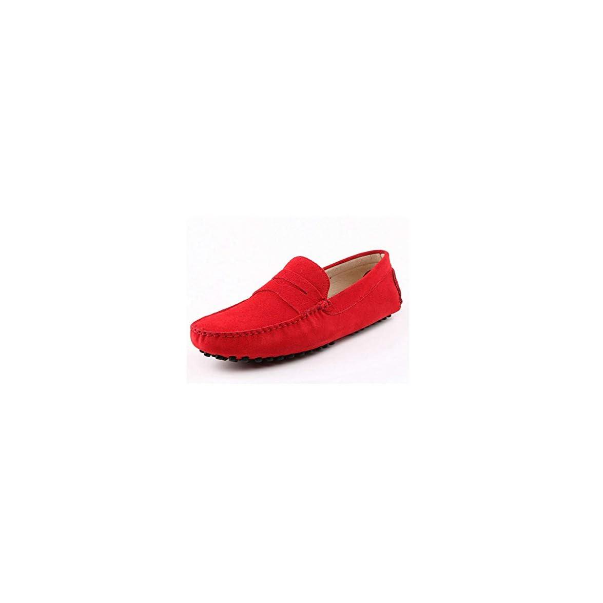Uomo Rosso Striscia Barca Scarpe Mocassino Scamosciato Caldo Casual - Qiusa Comoda Da 6 5 Dimensione colore - Mocassini Uk