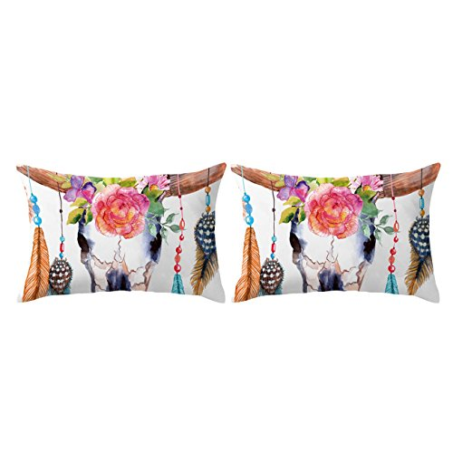 - ARIGHTEX Tribal Boho Feathers Pillow Case Set of 2 Floral Cow Skull Pillow Shams Hippie Throw Pillow Covers (Design 1, King 20