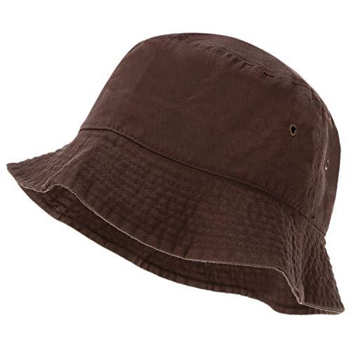 Bandana.com 100% Cotton Bucket Hat for Men, Women, Kids - Brown - Single Piece - Large/Extra Large Size - Summer Cap Fishing Hat