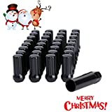 dynofit 14mmx1.5 Wheel Lug Nuts, 32x Black M14x1.5 Lug Nut,Conical/Cone Bulge Seat, Closed End Long Extended XL Spline with 1 Socket Key Fits Chevy GMC Dodge Ford 8 Lug Aftermarket Wheels