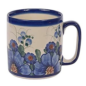 Traditional Polish Pottery, Handcrafted Ceramic Roller Mug (400 ml), Boleslawiec Style Pattern, Q.201.PASSION