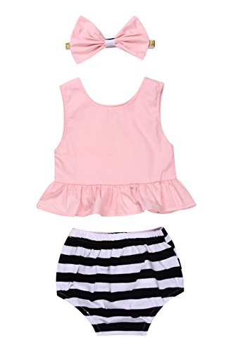 Baby Girl Summer Clothes Pink Blouse Top + Striped Shorts + Headband 3Pcs Outfit Set (0-6 Months, Pink)