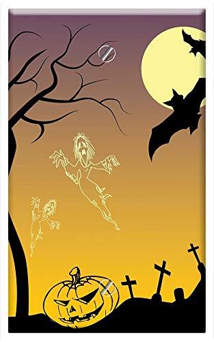 Single-Gang Blank Wall Plate Cover - Halloween Poster Drawing Scary Pumpkin Creepy ()