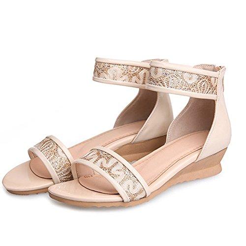 Dayiss® Elegant Damen Schuhe Spitze mit Keilabsatz Römersandalen Sandalettn
