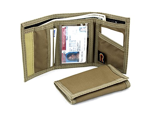 - Rainbow of California Trifold Wallet w/Inside ID. Hook n Loop Closure. Made in USA (Coyote Brown)