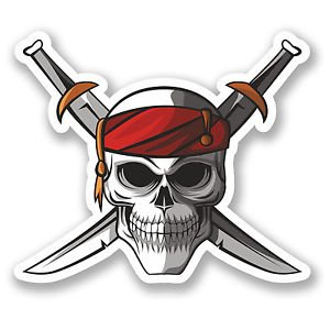 Pirate Sword Crossbones Decals Stickers (TWO PACK!!!)|Cars Trucks Vans Walls Laptops|Printed Color|2-4 in decals|KCD573