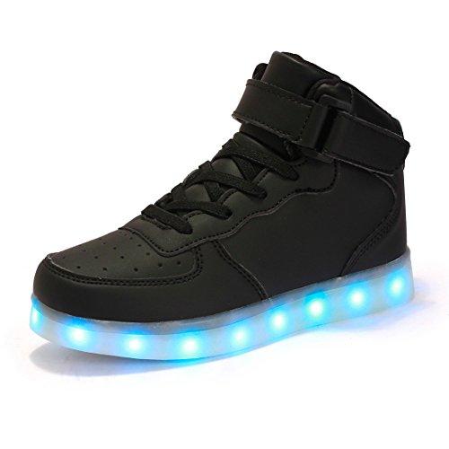 AFFINEST Hoch oben USB aufladen LED Schuhe blinken Fashion Sneakers für Kinder Jungen Mädchen Halloween Weihnachtsgeschenke (EUR39, Schwarz)