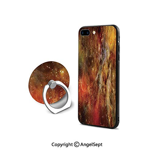 Protective Case Compatible iPhone 7/8 with 360°Degree Swivel Ring,Nebula in Deep Outer Space with Star Clusters Astro Galaxy Universe,Shockproof Protection,Black Orange Yellow