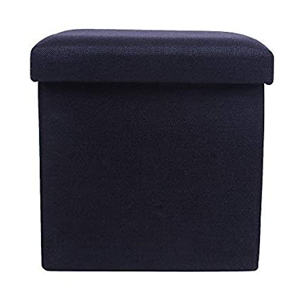 UberLyfe Foldable Ottoman Storage Box Cum Stool - Black (OTTO-001751-BK)