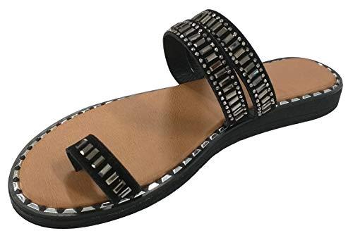 Top Stylish Sexy Backless Vegan Leather Jeweled Slipper Sandal Shoe for Women Big Girls (Black Size 8.5) (Leather Jeweled Sandals)