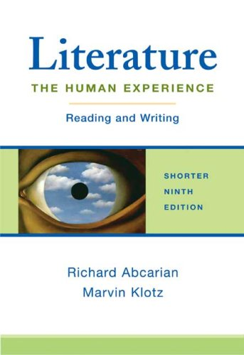 Literature: The Human Experience Shorter Edition: Reading and Writing (Literature The Human Experience With 2016 Mla Update)