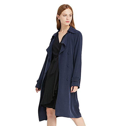durable modeling LILYSILK Silk Trench Coat for Women 100 Pure 23MM Classical  Casual Double Breasted Belted d70bb20e1c12