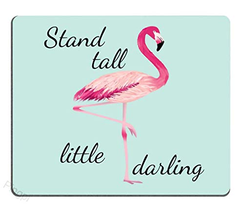 Stand Tall Little Darling Watercolor Flamingo Motivational Sign Inspirational Quote Personality Desings Gaming Mouse Pad 9.5