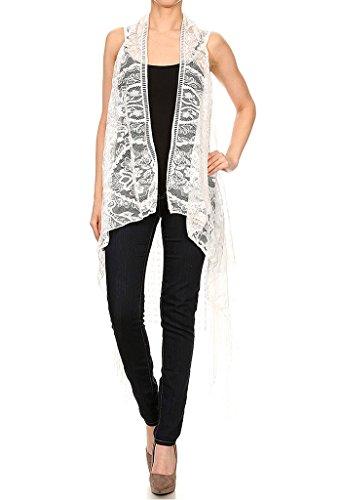 ULTIBrand Women's Sleeveless Open Front Long Fringe Floral Lace Vest Cardigan (One Size, White)