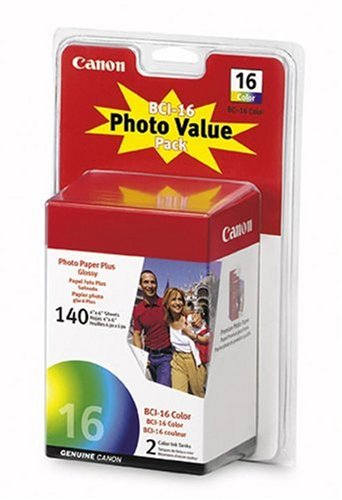 - CANON Photo Value Pack (9818A007) 2 BCI-16 Color Ink Tanks with 140 Sheets of 4x6 Glossy Photo Paper