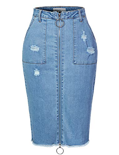 RK RUBY KARAT Womens Vintage Distressed Fitted Full Zip Up Denim Midi Skirt with Frayed Hem