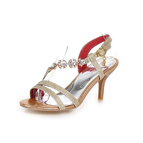 Sandals Solid High Buckle Open Materials Gold Toe Heels AgooLar Blend Women's HTwqzTA4