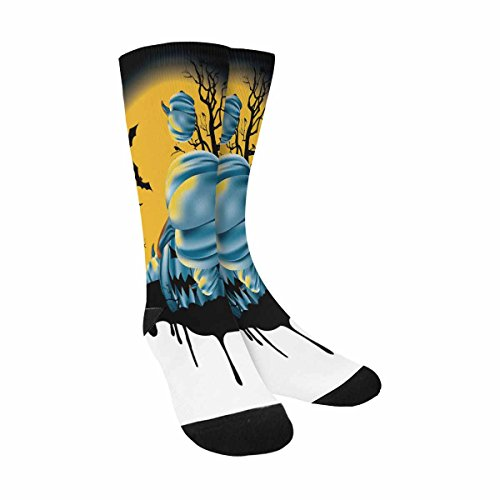 (INTERESTPRINT Funny Cute Novelty and Cool Halloween with Full Moon Sublimated Crew Socks Unisex)