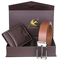 Hornbull Mens Brown Wallet and Brown Belt Combo BW102108