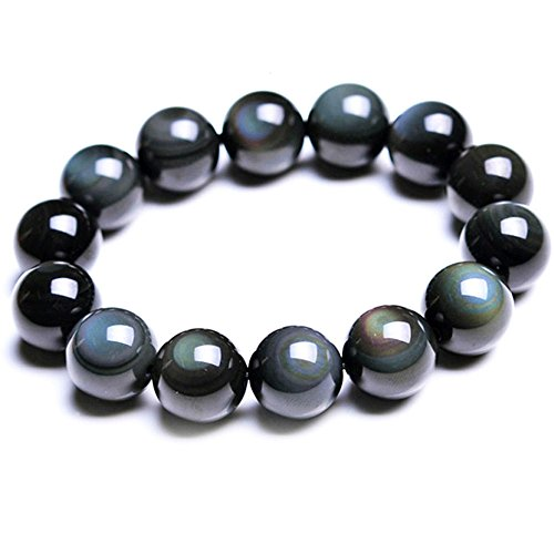 SX Commerce Natural Obsidian Stone Bead Bracelet with Rainbow Eye Women 10mm and Men 12MM Jewelry (Target Mens Bracelets)