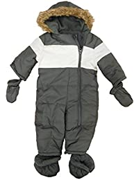 Infant Boys Gray Insulated Pram Baby Bunting Snowsuit with Mittens & Booties