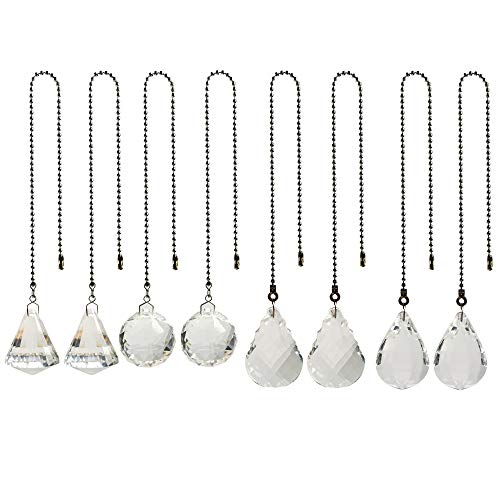 (8 Pcs Crystal Prisms Charm Pendant Ceiling Fan Pull Chain Extender with Ball Chain Connector by MOMOONNON)