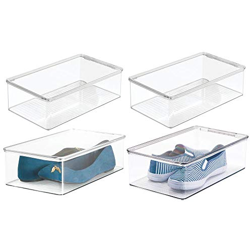 mDesign Stackable Plastic Closet Shelf Shoe Storage Organizer Box with Lid for Mens, Womens, Kids Sandals, Flats, Sneakers - 4 Pack - Clear - Door Front Hinged Clear