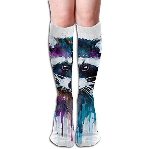 テロリストランチ台無しにアライグマ ストッキング 3D デザイン 女性男性 秋と冬 フリーサイズ 美脚 かわいいデザイン 靴下 足元パイル ハイソックス メンズ レディース ブラック サイハイソックス
