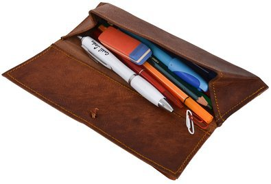 Gbag (T) Genuine Leather Stationery Pencil Pen Case Art Pouch Office Uni College Smart Everyday Vintage Unisex Brown T5