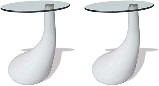 vidaXL 2X Coffee Tables w/Round Glass Top White Stand End Side Home Furniture
