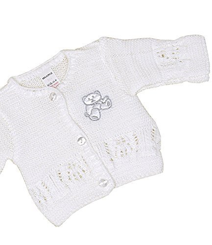 BabyPrem Baby Cardigan Jacket Acrylic Teddy Bear 1.5lb-6 mths WHITE 3-6