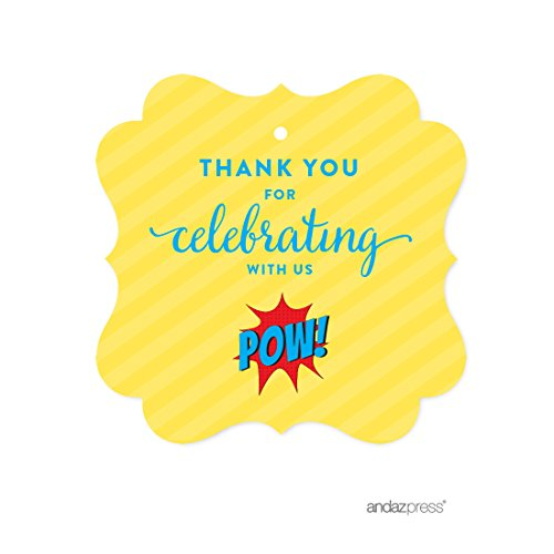 Andaz Press Birthday Fancy Frame Gift Tags, Thank You for Celebrating With Us, Superhero Pow Bam, 24-Pack, For Gifts and Party Favors by Andaz Press