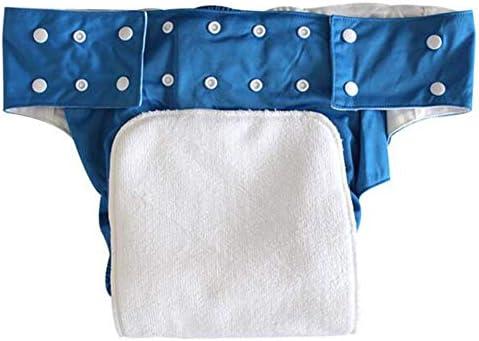 失禁ケア保護下着のための洗える大人ポケットおむつカバー調節可能な再利用可能なおむつ布,ブルー,L