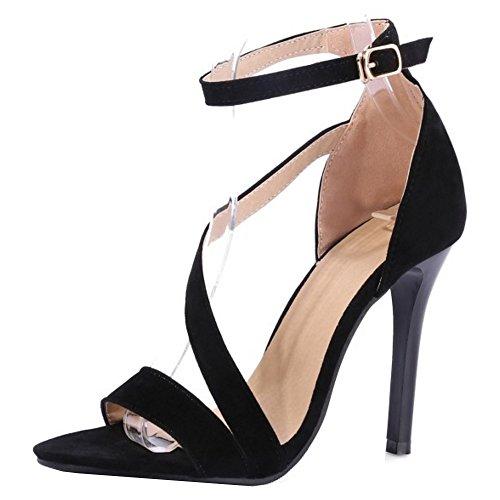 COOLCEPT Mujer Punta Abierta Al Tobillo Sandalias Elegant Solid Tacon Alto Tacon De Aguja Zapatos Negro