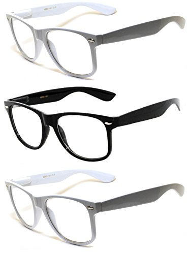 OWL ® 3 Pairs Classic Vintage Retro Sunglasses 1 BLACK and 2 WHITE Frame Clear - Retro Online Sunglasses