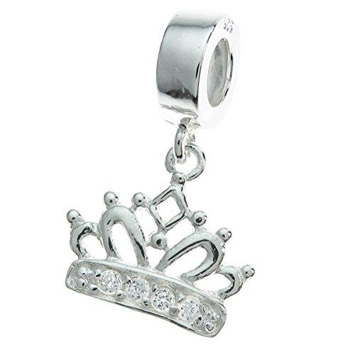 925 Sterling Silver Princess Crown Clear Cz Crystal Dangle For European Charm Bracelets ()