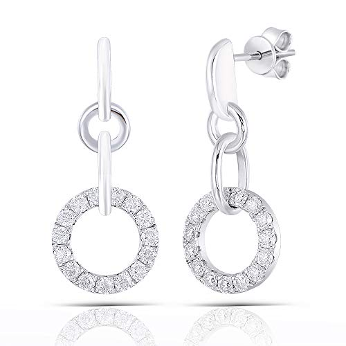 Double Silver Ear Plugs 10K White Gold Post 1ct Moissanite Drop Earrings Platinum Plated Sterling Silver Push Back for Women
